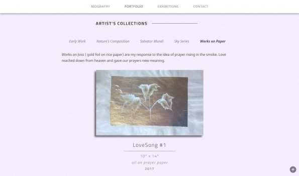 This custom gallery allows the artist to show off her art categorically and in an orderly way.