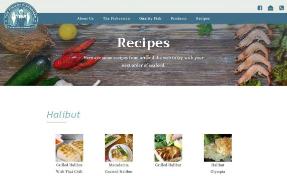 This fisherman can now share recipes with customers on this page organized by category. New recipes are easily added through custom dashboard.